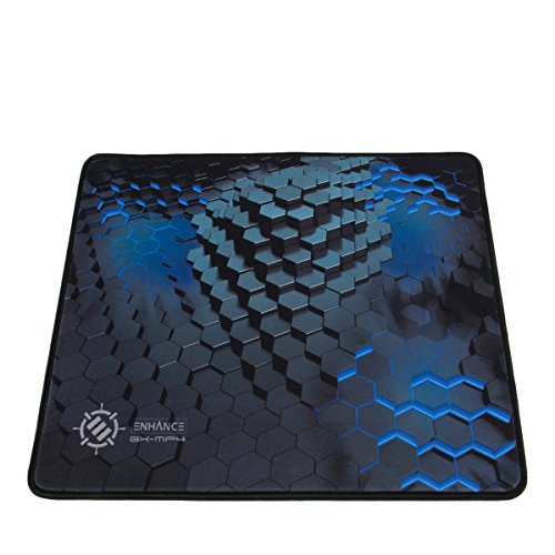 ENHANCE Large Gaming Mouse Pad - Thick Mousepad with Stitched Edges, Non-Slip Rubber Base, High Precision Smooth Cloth Fabric Tracking Professional Esports Mouse Mat - 3D Blue Hex Design