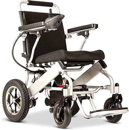 2020 Electric Wheelchair with Bluetooth Remote Control, Motorized Fold Foldable Power Compact Mobility Aid Wheel Chair, Lightweight Folding Carry Electric Wheelchair, Powerful Dual Motor