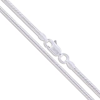 Sterling Silver Round Snake 1.9mm 2.2mm 2.4mm 3mm 4mm 5mm Chain Solid 925 Necklace