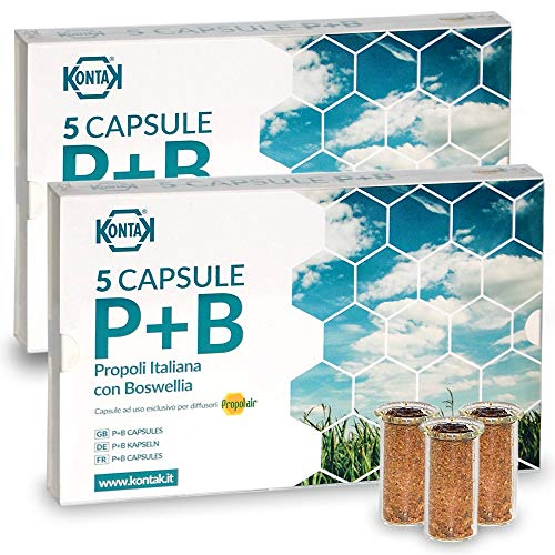 2x Kontak Propoli + Boswellia Capsule Per Diffusori Ambientali, 5 capsule Propolair -> Pacchetto contenete 2 confezioni da 5 capsule | Difese Immunitarie, respirazione