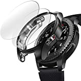 [2+1 Pack] Compatible Samsung Galaxy Watch 46mm/ Gear S3 Case Cover with Screen Protector, Soft TPU Plated Protective Bumper Shell + Tempered Glass Screen Protector film for Gear S3 Frontier/Classic