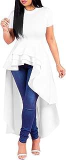 Womens Bodycon Maxi Dresses Solid Ruffle High Low Irregular Short Sleeve Blouse Tops Shirt Dress