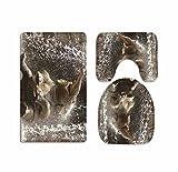 A.Monamour Badezimmer Badematte 3 Teilig Set Baby Elefant Spielt Im Wasser Bild Grafik Gedruckt Badematte Teppich Für Toilettenzubehör Flanell Saugfähig Badteppiche Badvorleger Badgarnitur WC Vorleger