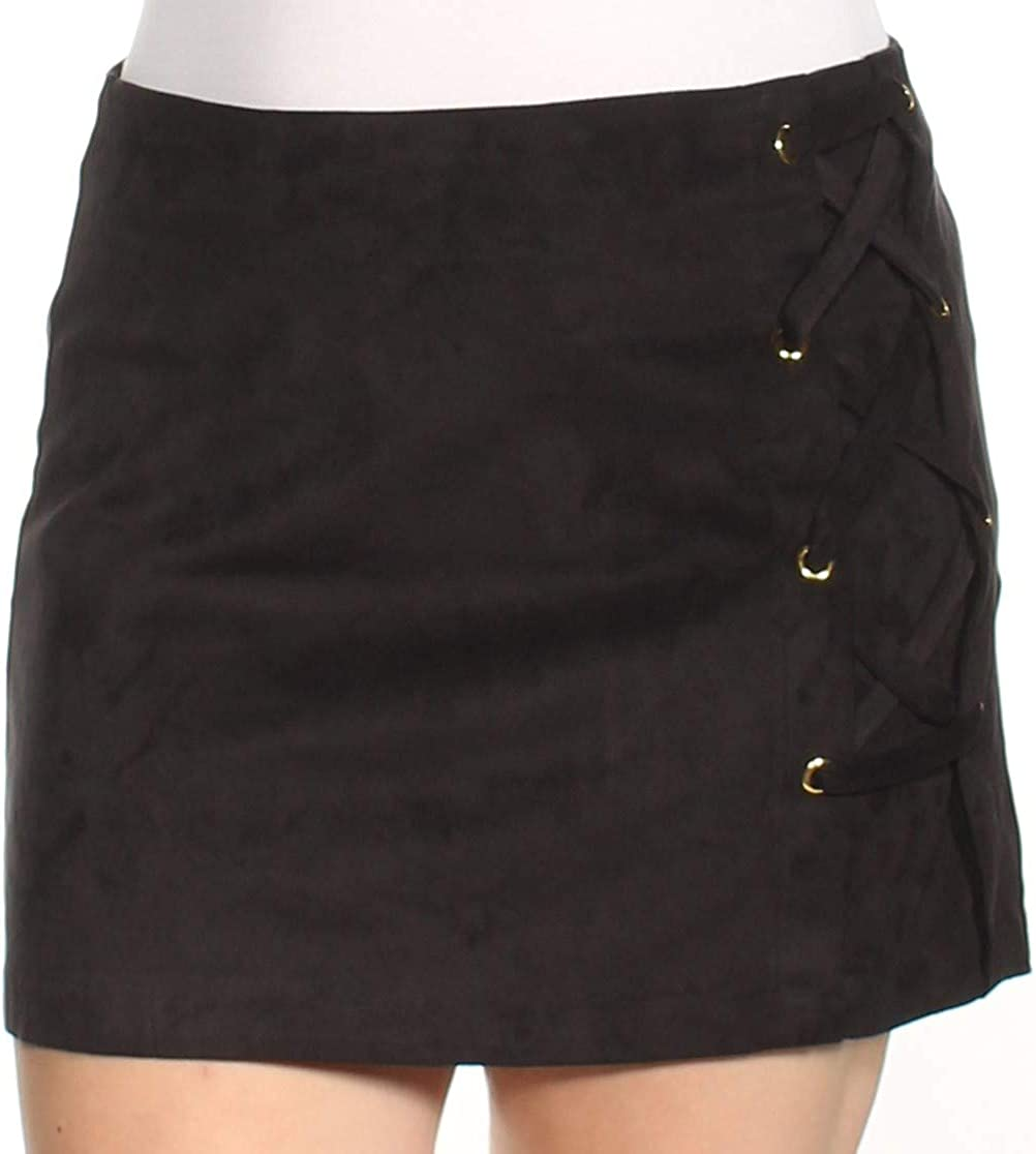 kensie Women's Stretch Suede Skirt with Lace Up Side