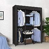 SONGMICS Kleiderschrank, Garderobenschrank mit Gitterablagen aus Eisen, Stoffschrank mit Tür und Kleiderstangen, Aufbewahrungsschrank, Vliesstoff, fürs Schlafzimmer, schwarz RYM34BK - 3