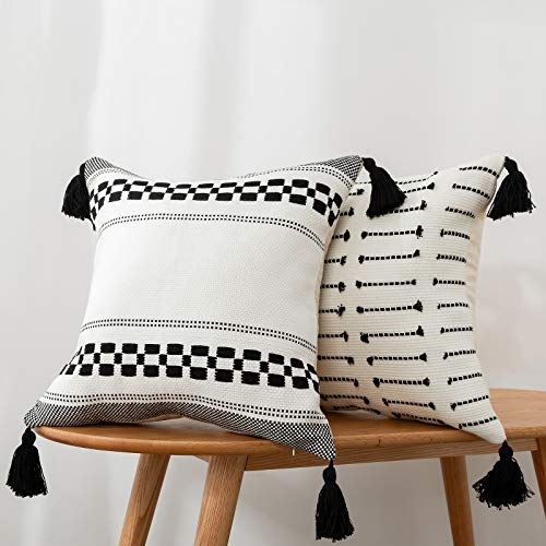 blue page Set of 2 Neutral Black and Cream Geometric Decorative Pillow Covers 18x18 Inch, Modern Accent Boho Cushion Case for Couch Sofa Bed Car, Farmhouse Pillow Cases