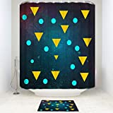 Waterproof Mildew Resistant Polyester Fabric Bathroom Shower Curtain Set with Bath Mats Rugs