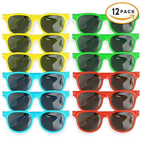 Goody Bag Filler Beach /& Pool Party Favors Bright Summer Colors 80s Party- 12 Classic 12 Wrap-Around Sunglasses Beach Party Favors Neon Bulk Kids /& Adults Sunglasses Party Favors 24 Pack Birthday /& Fun Parties Supplies Goody Bag Filler By 4Es