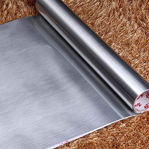 Cocina Cepillado Metálico Vinilo Adhesivo de pared Papel autoadhesivo Lavavajillas Acero inoxidable Cáscara y adhesivo Papel de contacto, plata, 3mX60cm
