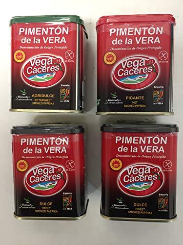 Paprika affumicata di La Vera con tre gusti. Confezione da 4 barattoli di paprika Vera affumicata, dolce e aspro, dolce e speziata