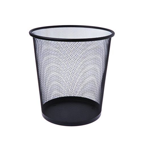 KOUJING Cubo de basura de malla de metal, papelera redonda para reciclaje, herramientas de oficina, color negro