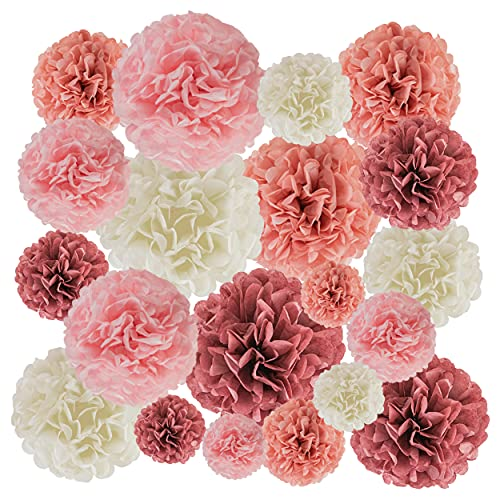 EpiqueOne 20-Piece Party Decoration Kit – Hanging Tissue Paper Pom Poms for Weddings and Other Special Occasions – Easy to Assemble and Install – Colors: Blush Pink, Dusty Rose, Mauve, Cream