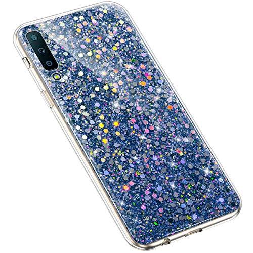 Uposao Kompatibel mit Samsung Galaxy A7 2018 Handyhülle Glänzend Glitzer Bling Strass Kirstall Schutzhülle Durchsichtig TPU Silikon Case Transparent Crystal Clear Hülle TPU Rückschale Etui,Blau