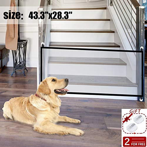 433quotx283quot Portable Folding Pet Gate Mesh Magic Gate for DogsMagic Gate,Baby Safety Fencemesh gate Isolated Gauze Indoor and Outdoor Safety Gate Install Anywhere