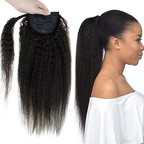 Easyouth Queue de Cheval Noir Naturel Kinky Straight Hair for Women Easy Fit Clip in Ponytail Extension Cheveux Wrap around Ponytail 14 Pouces 35cm 10