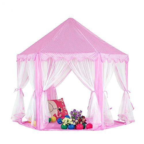 Esup Pink Princess Tent Castle, 55 Inch x 53 Inch Hexagon Play Tent for Kids with Star Lights for Indoor and Outdoor, (Castle Tent)