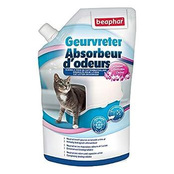 BEAPHAR - Absorbeur d'odeurs - Granulés pour litière pour chat - Formule concentrée – Neutralise les mauvaises odeurs – Laisse un agréable parfum (Orchidée) – 400 g = jusqu'à 3 mois d'utilisation