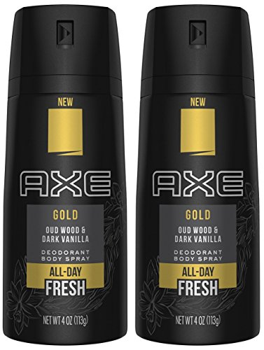 Axe Gold Oud Wood and Dark Vanilla Deodorant Body Spray 4.0 oz (Pack of 2)