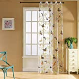 Norbi Fresh Floral Print Tulle Voile Door Window Rom Curtain Drape Panel Sheer Scarf Valances (Butterfly,Perforated)