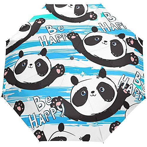 Leuke gelukkige pandas-open paraplu-paraplu-opvouwbare compacte automatische anti-uv-paraplu.