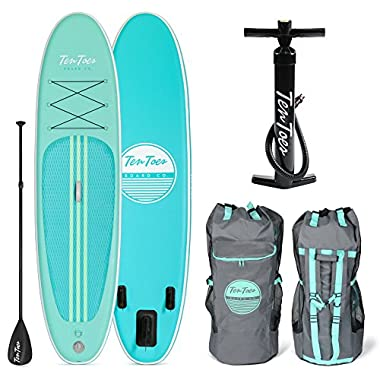 Ten Toes SUP Emporium Ten Toes Weekender Inflatable Stand up Paddle Board Bundle, Medium/10', Seafoam
