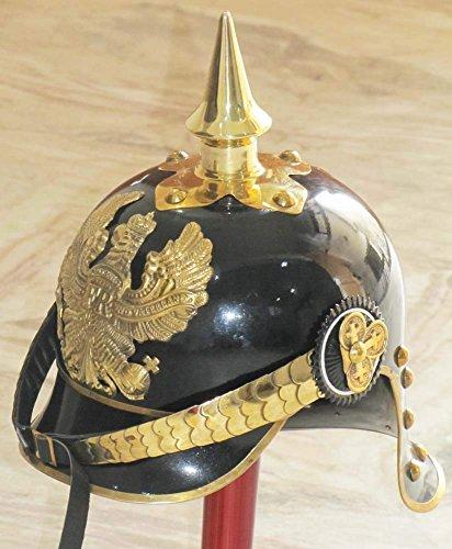 THORINSTRUMENTS WW I&II GERMAN PRUSSIAN PICKELHAUBE HELMET BRASS ACCENTS IMPERIAL OFFICER SPIKE HELMET PICKELHAUBE HELMET