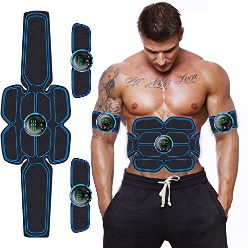 Elettrostimolatore per Addominali Elettrostimolatore Muscolare Addominale Tonificante Cintura ABS EMS Stimolatore Muscolare Addome/Braccio/Gambe/Waist/Glutei USB Ricaricabile 3 in 1