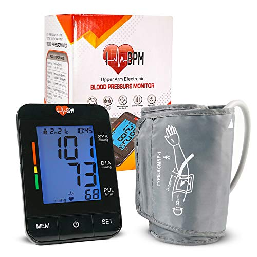 """Blood Pressure Monitor Upper Arm (Smart Pressurized Tech), with 8-13"""" Large Cuff, Automatic Clinical Accurate BP Machine, 2 Users 180 Memory with Date"""