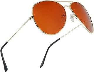 SunglassUP Gold Original Aviator Blue Blockers Full Metal Driving Sunglasses for Men and Women