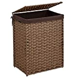 Superjare Handwoven Laundry Hamper, Synthetic Laundry Sorter with Removable Liner Bag, Collapsible Clothes Basket with Lid and Handles for Easy Carrying, Brown