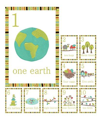 Children Inspire Design cartes de mur comptage nombre boisé en anglais, jeu de mur dix 5 x 7 estampes, forest nursery animale mur art décor, décoration d'art pour enfants