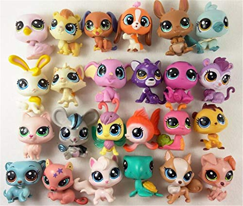WooMax 5 Piezas Littlest Pet Shop Toys LPS Toys Cute Stands Cat Dog Old Rare Original Figure Animal Collection Kitten Collie Spaniel