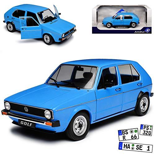 Volkwagen Golf I Blau 5 Türer 1974-1983 1/18 Solido Modell Auto mit individiuellem Wunschkennzeichen