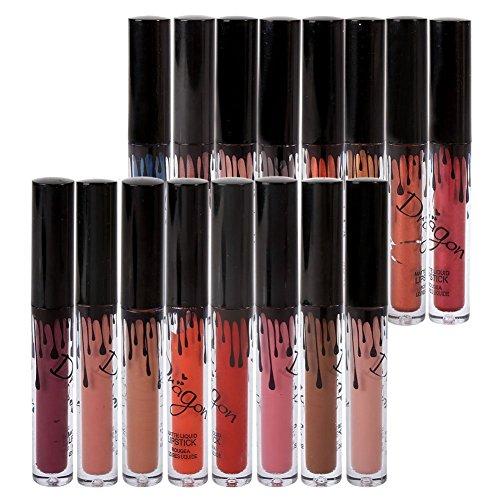 Hanyia Lippenstifte Liquid Matt Lip Gloss Dauerrhaft Make up 16 Stück Wasserdicht Lipgloss und...