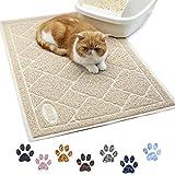 VIVAGLORY Katzenklo Vorleger Groß 90 × 60cm, Katzenstreu Matte zum Abfangen von Katzenstreu, strapazierfähige & wasserdichte, Beige