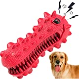 SHANFEEK Dog Chew Toys for Aggressive Chewers Large Breed Indestructible Durable Tough Squeaky Interactive Natural Rubber Dog Toothbrush Stick Puppy Teething Chew Toys