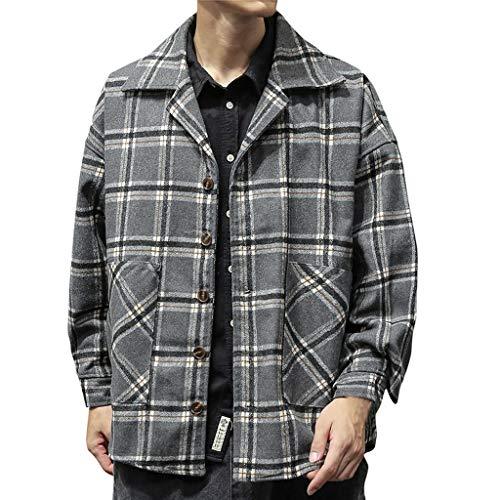 Kariert Wolljacke Herren für Herren-Jacken, Wollmantel Jacke Herren Winter Winterjacket Vintage Retro Revers Freizeitjacke Hemd Große Größen Trenchcoat