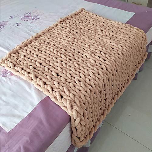 Manta de lana gruesa hecha a mano, manta de felpilla, se puede utilizar en dormitorio, oficina, sala de estar, 12 – 100 x 200 cm