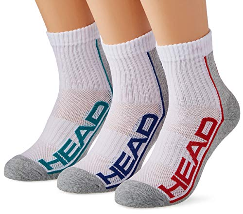 HEAD Unisex-Adult Performance Short Crew (3 Pack) Socks, Grey Melange, 43/46
