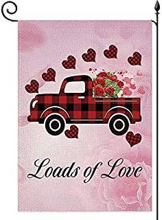 YaoChong Loads of Love Valentines Day Garden Flag Buffalo Check Plaid Red Truck and Love Hearts Flowers Rustic Farmland Bu...