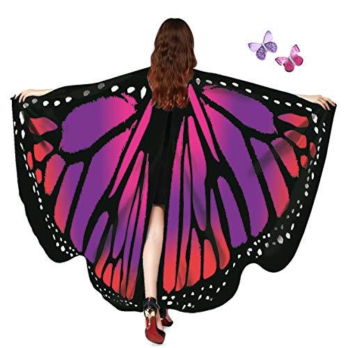 AWAYTR Women Butterfly Wings Shawl - Fairy Ladies Cape Halloween Dress Up Costume Accessory (Purple&Red)