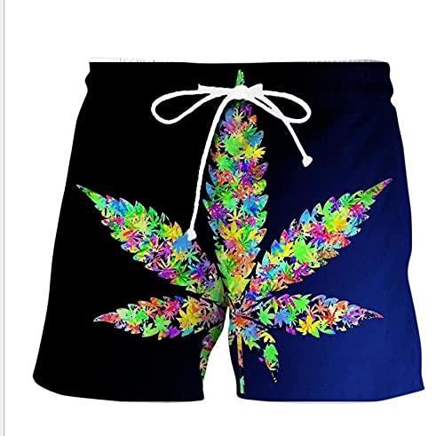 APCHYWEII Pantalones Cortos De Baño para Hombre Stretch Beach Shorts De Secado Rápido Moda hasta La Rodilla Impreso con Forro De Malla Hojas De Colores-F_5XL
