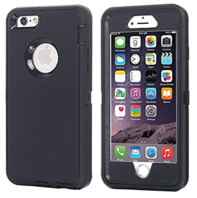 Annymall Case Compatible for iPhone 8 & iPhone 7, Heavy Duty [with Kickstand] [Built-in Screen Protector] Tough 4 in1 Rugged Shorkproof Cover for Apple iPhone 7 / iPhone 8 (Black)