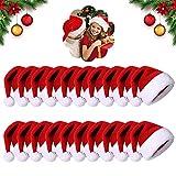 Shengruili 24PCS Cappellino Babbo,Cappello Babbo Natale Peluche,Cappello di Babbo Natale,Morbido Cappello di Natale in Peluche,Cappello di Natale per Adulti,Cappello di Babbo Natale (J)