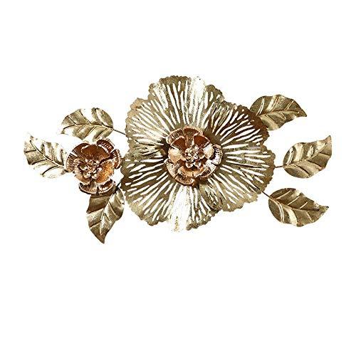 ZHICHUAN la Escultura Del Metal Ilustraciones de Metal Arte de la Pared, Decoración de la Pared Tridimensional Hierro Forjado Golden Lotus para Sala de Estar Oficina Colgante 36.6X1