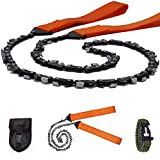 Survival Pocket Chainsaw Folding Hand Saw Chain 33 Serrated 3x faster-24 inch Hand Saw with Orange Straps for Wood cutting Hiking Camping gear Include Survival Bracelet Whistle Wristband & Firestarter