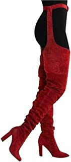 Fiaya Women's Sexy Suede Leather Over The Knee Pointed Toe Stretchy Belt Thigh High Chunky High Heels Long Boots