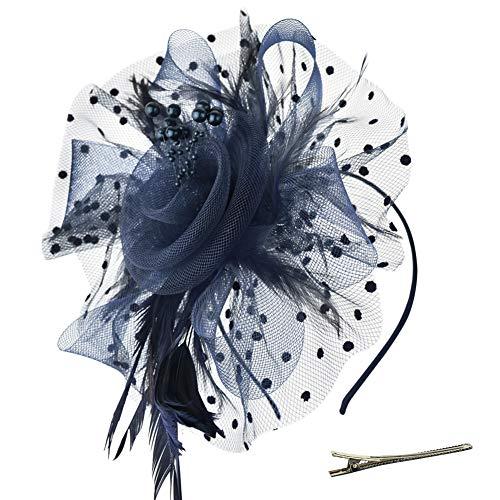 DRESHOW Fascinator Chapeau Plume Mariage Dames Day Bandeau et Clip Cocktail Tea Party Chapeau pour Fille et Femmes,Taille unique,Bleu-Navy