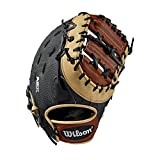 Wilson First Baseball Mitt-Left Hand Throw 2019 A2K 1617 12.5 Pulgadas Primera Base Guante de béisbol – Mano Izquierda, Hombre, Negro/Cobre/Negro Superskin, 32 cm