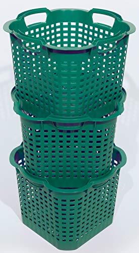 Novatool 3X Gartenkorb grün 25 L Erntekorb 40cm Drehstapelkorb Laubkorb Kunststoffkorb Mehrzweckkorb Vorratskorb Obstkorb Kartoffelkorb
